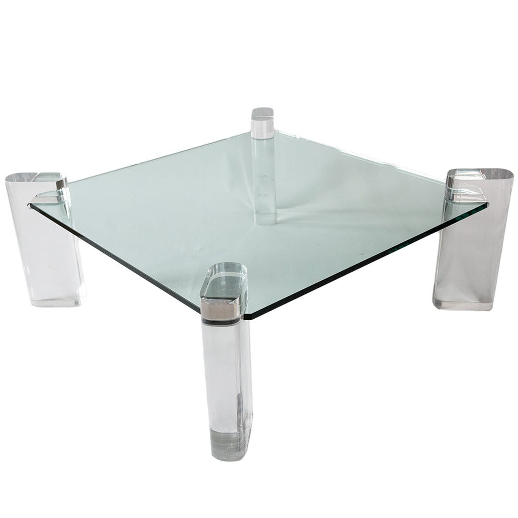 Karl Springer Glass And Lucite Low Table, Usa, Circa 1970s