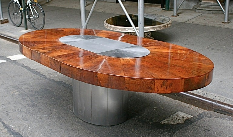 Burl and Gunmetal Oval Dining Table by Paul Evans, USA, c. 1970 4