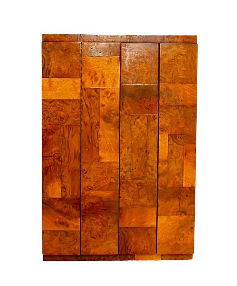 Burl olive wood cabinet by paul evans usa c 1970s at for Burl wood kitchen cabinets