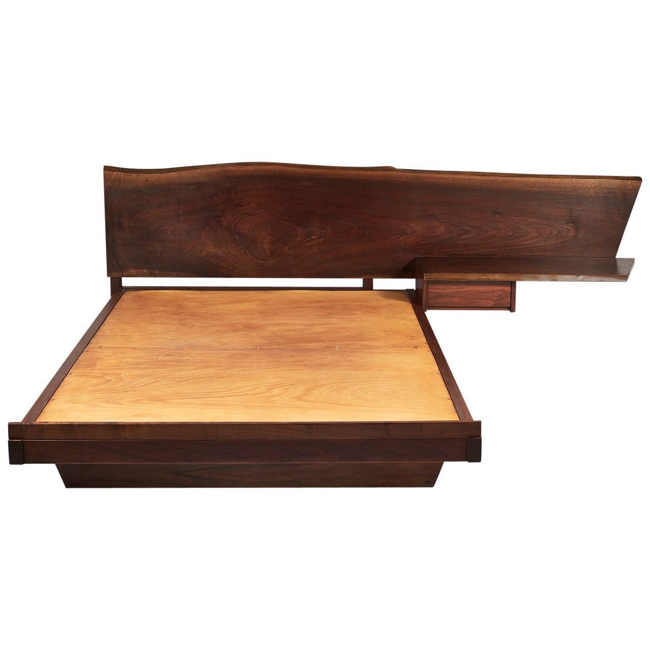 George nakashima platform bed with cantilevered slab for Bed slab