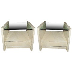 Pair of Goatskin End Tables by Karl Springer, USA, c. 1980
