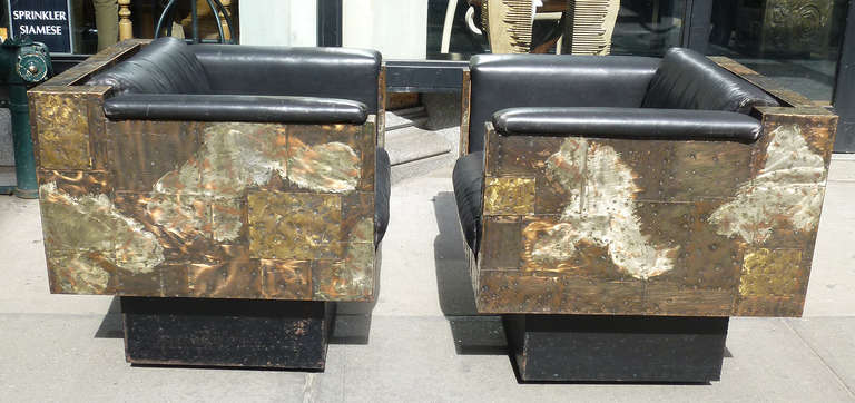 Pair Of Patchwork Lounge Chairs, From Paul Evans Studio For Directional In  Copper, Bronze