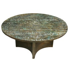 Eternal Forest Round Low Table by Phillip and Kelvin LaVerne, USA, c. 1970s