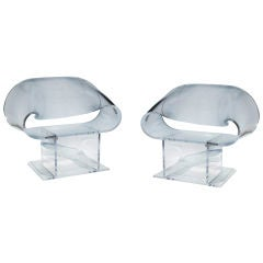 Pair of Lucite Ribbon Chairs