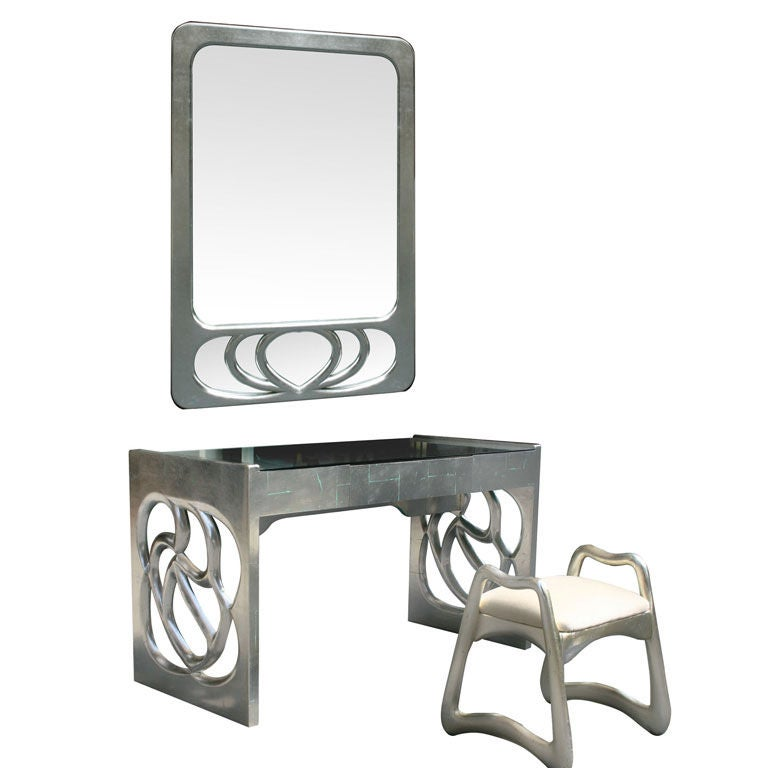 Silver Leaf Desk Vanity Mirror And Stool By Phillip Lloyd Powell At 1stdibs
