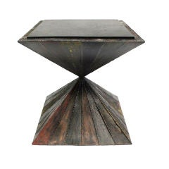 A Sculpted Steel Double-Pyramid Side Table by Paul Evans