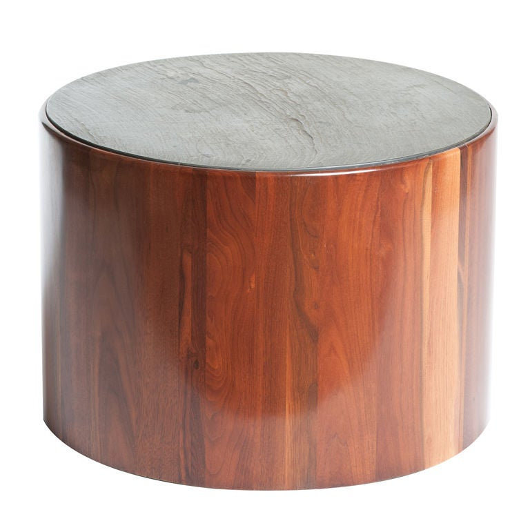 Phillip Lloyd Powell Low Drum Table In Walnut With Slate Top At 1stdibs