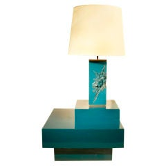 Teal-Blue Lacquered Lamp and Corner Table by Maison Charles