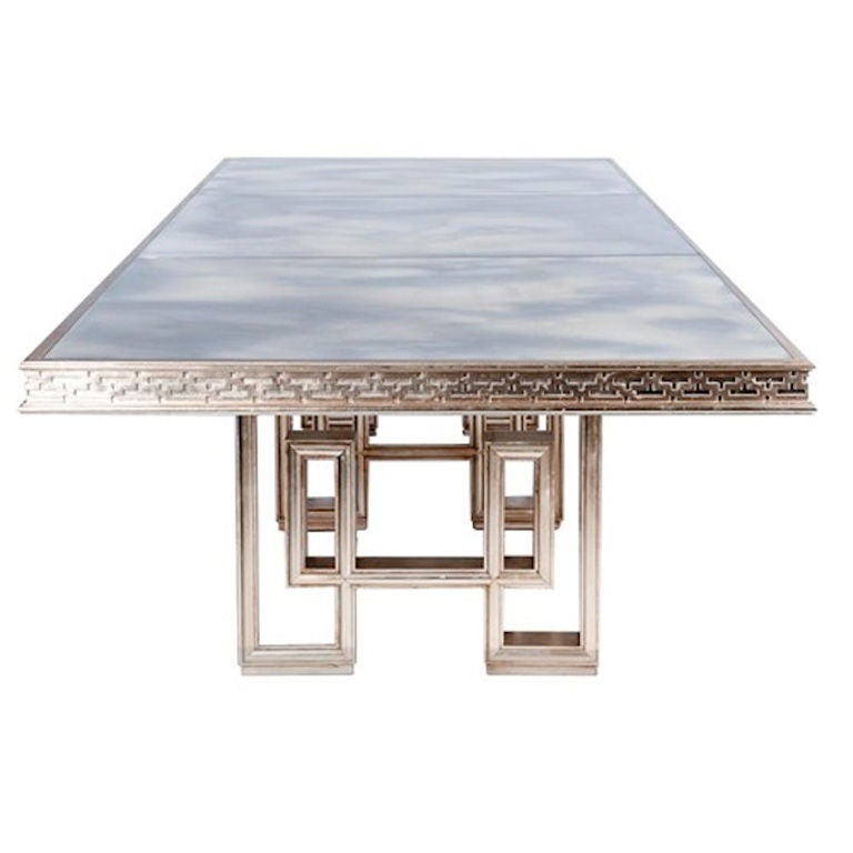 Silver leafed dining table with smoked glass top at 1stdibs - Silver dining tables ...