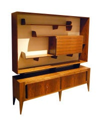 A Rare Walnut Floating Bookcase and Bar on Console by Gio Ponti