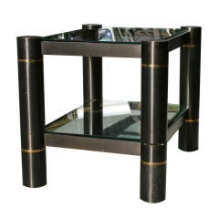 Two-tiered Gunmetal Side Table by Karl Springer