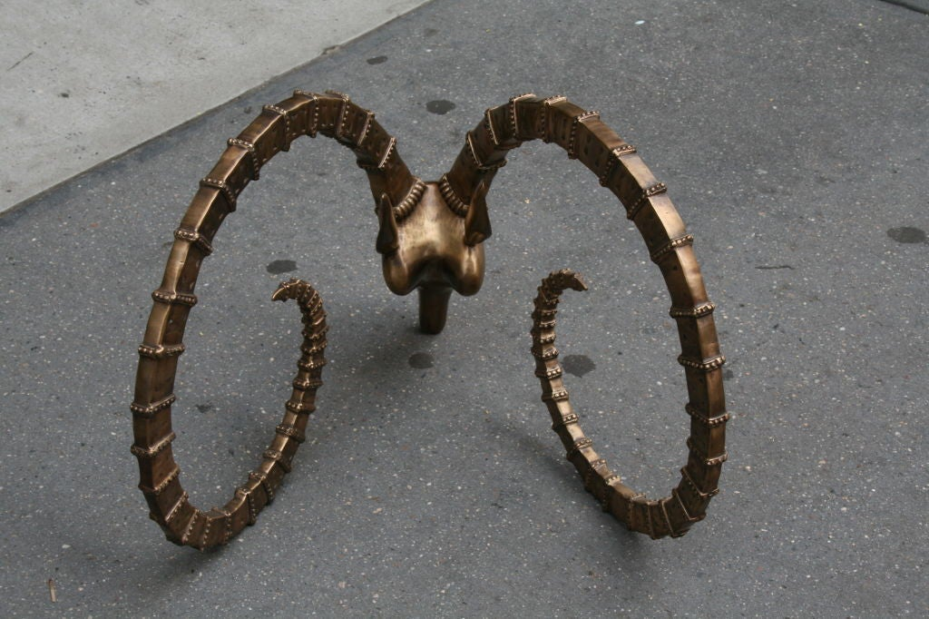 Low-Table with Brass Antelope Heads in the Manner of Chervet 3