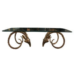 Low-Table with Brass Antelope Heads in the Manner of Chervet thumbnail 1