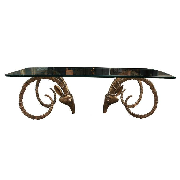 Low-Table with Brass Antelope Heads in the Manner of Chervet