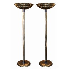 A Pair of Brass and Gunmetal Torchieres by Karl Springer