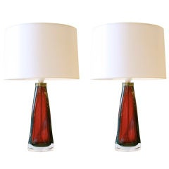 Pair of Ruby Red Cased Glass Lamps by Orrefors, Sweden, circa 1950