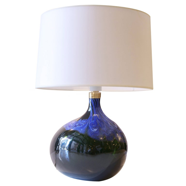 a single hand blown emerald glass lamp by holmegaard at. Black Bedroom Furniture Sets. Home Design Ideas
