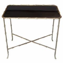 """Bronze """"Bamboo"""" and Black Glass Table by Maison Bagues"""