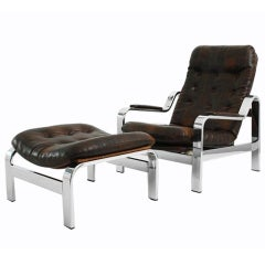 Adjustable Patchwork Leather Lounge Chair by Knoll
