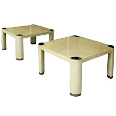 Pair of Goatskin Occasional Tables by Karl Springer