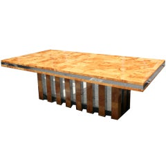A 10.5' Olive Burl Patchwork and Chrome Rectangular Dining Table