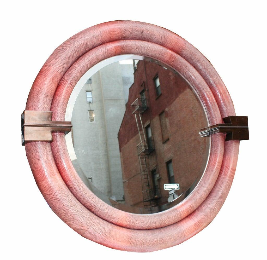 A large round python skin mirror signed karl springer for for Large round mirrors for sale
