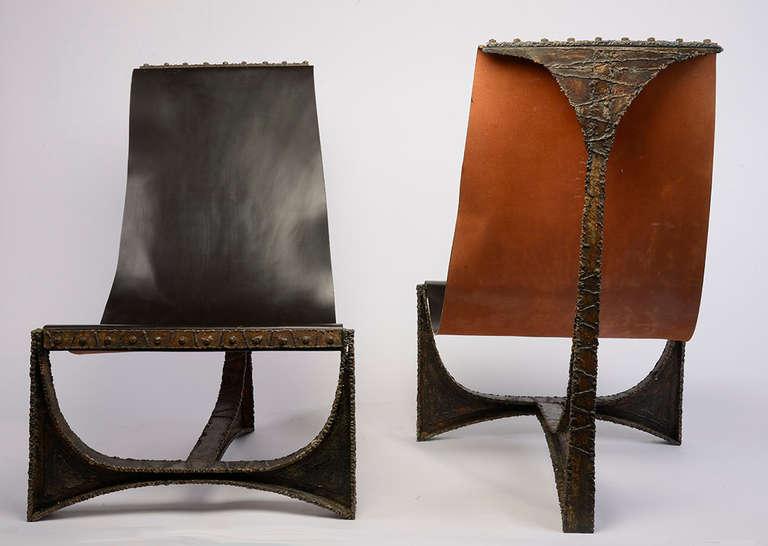 Pair of Paul Evans Studio Welded Steel Sling Chairs USA