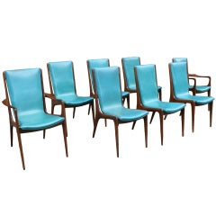 Set of Eight Walnut Dining Chairs by Vladimir Kagan, USA, ca. 1950's