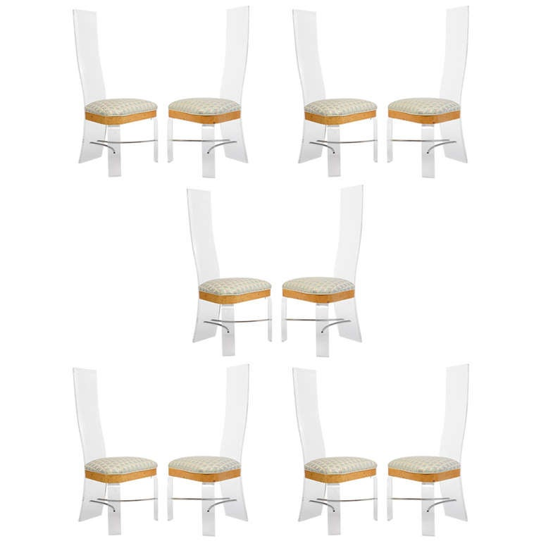 10 High Back Lucite And Burled Elm Dining Chairs USA