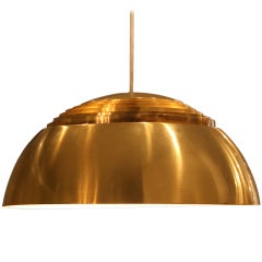 "Large ""AJ"" Brass Pendant by Arne Jacobsen for Louis Poulsen, 1960"