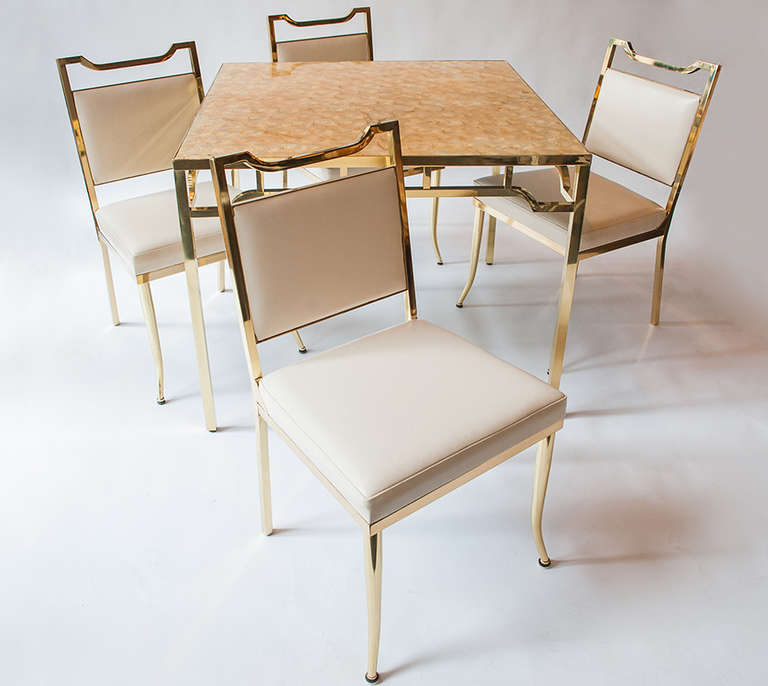"Brass Table and Chair Set by William ""Billy"" Haines For Sale"