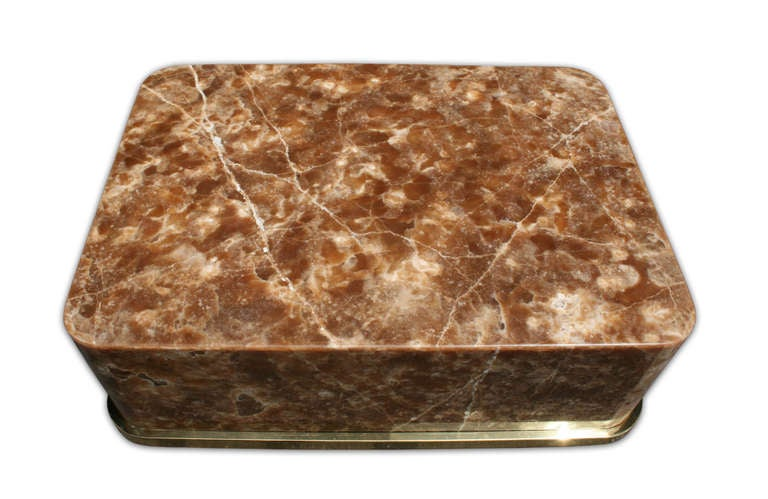 Illuminated Onyx Coffee Table On Brass Plinth By Stephen Chase USA