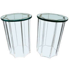 """Glass and Lucite """"Cigarette"""" Side Tables by Karl Springer, 1981"""