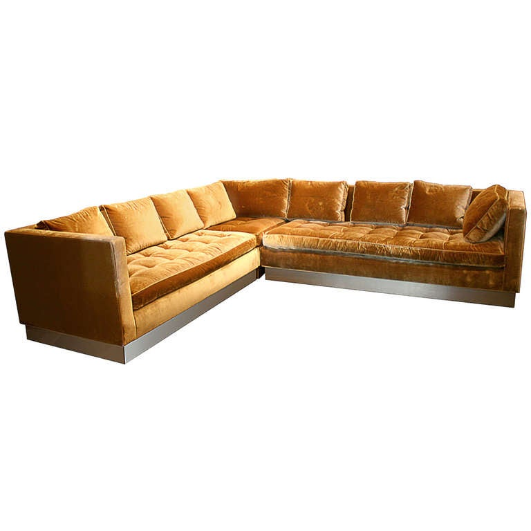 Custom gold silk velvet sectional sofa usa 2000 at 1stdibs for Gold velvet sectional sofa