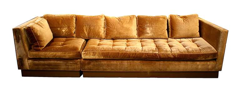 A Top Of The Line Sectional Custom Sofa Upholstered In Nancy Corzine Gold  Silk Velvet With
