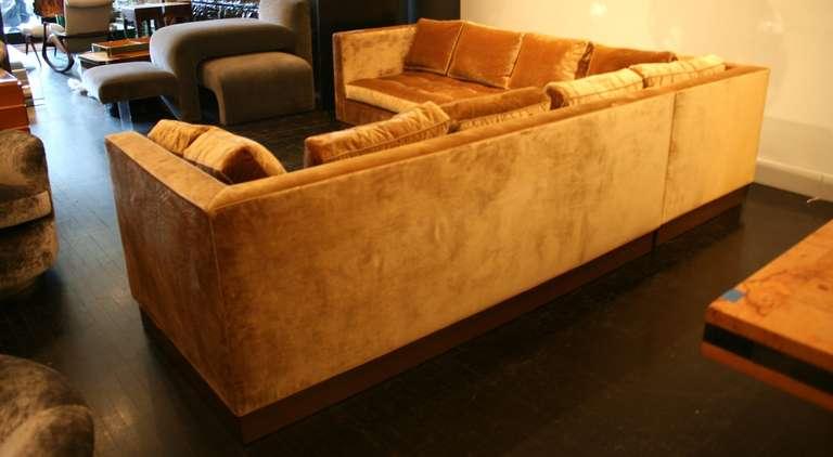 American Custom Gold Silk Velvet Sectional Sofa, USA 2000 For Sale