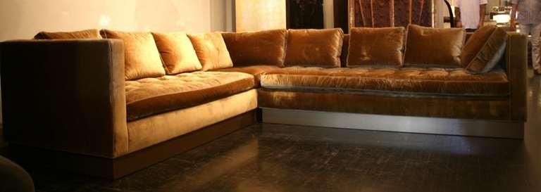 Custom Gold Silk-Velvet Sectional Sofa, USA 2000 5