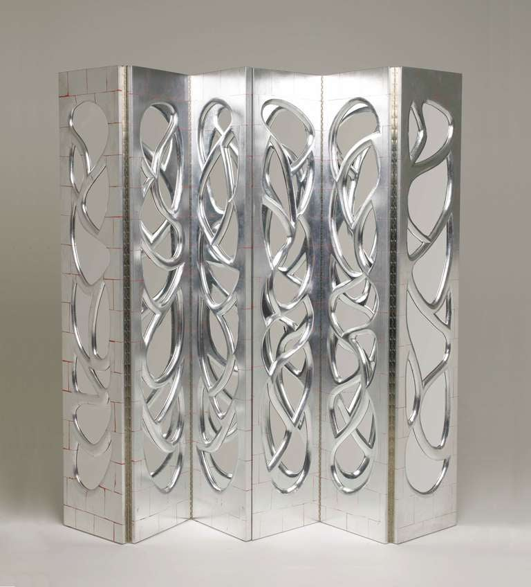 Pair of Silvered-Walnut Mirrored Screens by Phillip Lloyd Powell, 2000 2