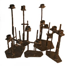 A Set of Five Welded-Steel Candlesticks by Paul Evans Studio, USA, ca. 1960s