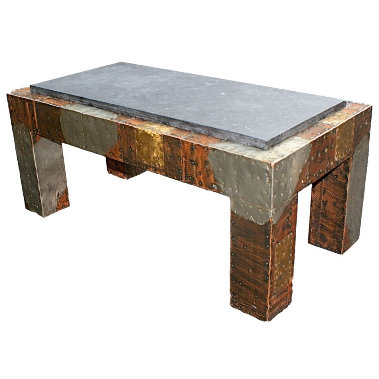 Patchwork coffee table with slate top by paul evans usa at 1stdibs Slate top coffee tables
