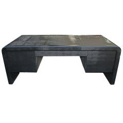Black Lizard Embossed Executive Desk by Karl Springer, USA, 1988