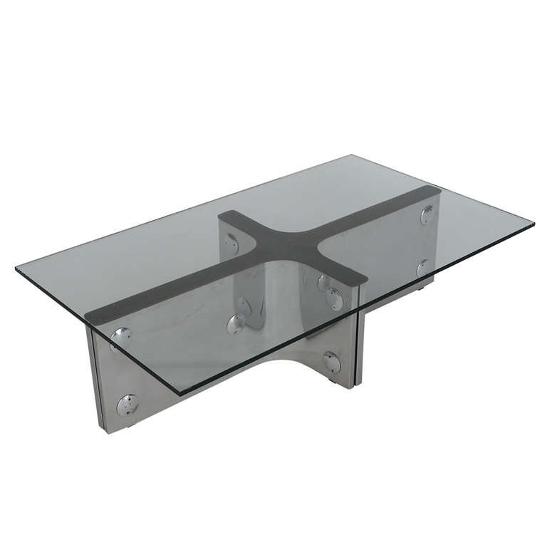 Stainless Steel And Wood Coffee Table At 1stdibs