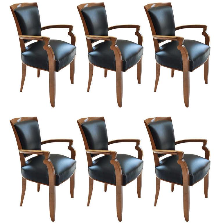 Set of Six Ocean Liner Armchairs by Jules Leleu