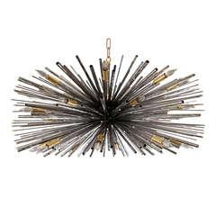 "Custom Designers Original ""Supernova"" Chandelier by Lou Blass in Textured Steel"
