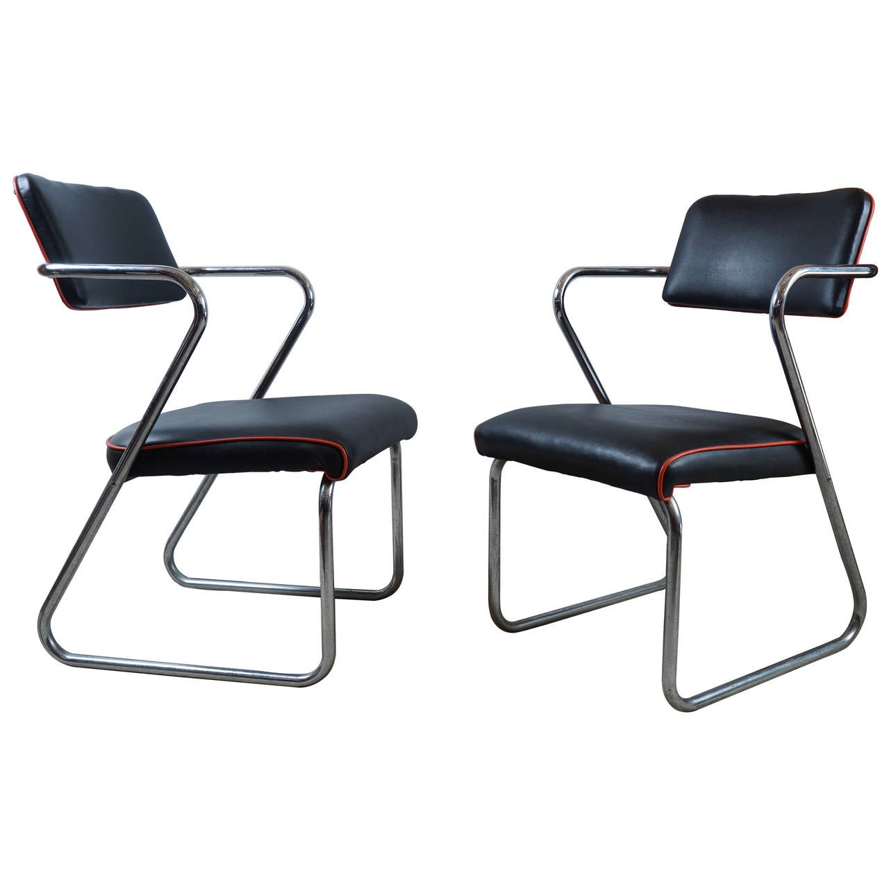 Pair Of Royalchrome Z Chairs By Gilbert Rohde For Royal Metal Co. For Sale