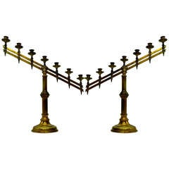 Antique Brass Church Candleholders