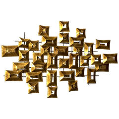 Curtis Jere Inspired Distress Brass Wall Sculpture