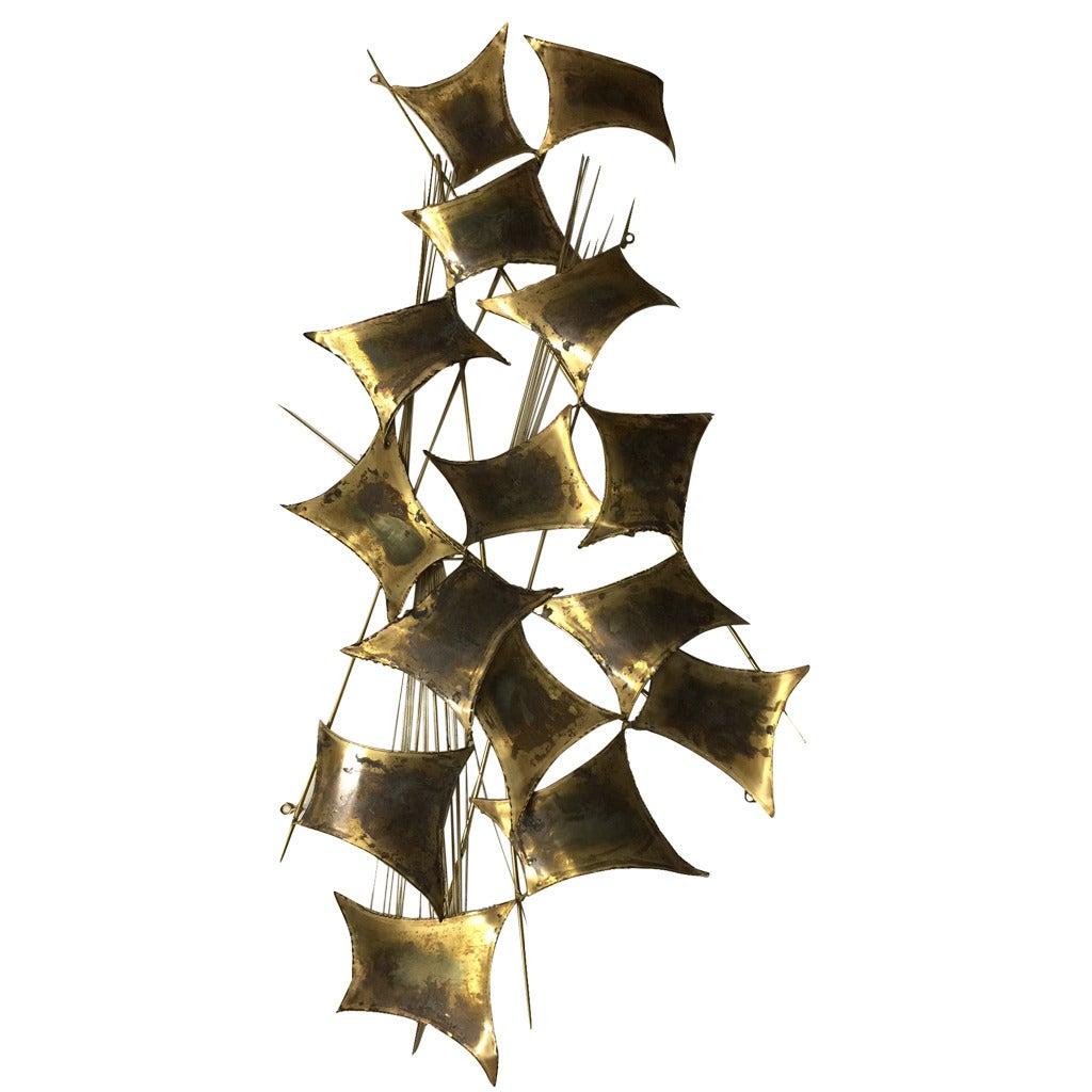 Curtis Jere Distress Brass Wall Sculpture 1