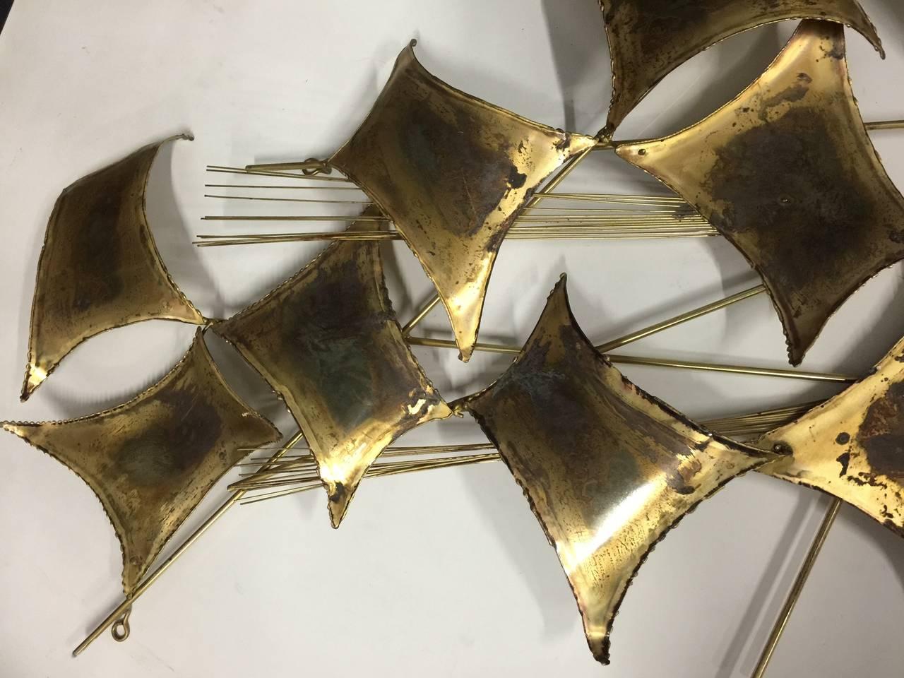 Curtis Jere Distress Brass Wall Sculpture 2