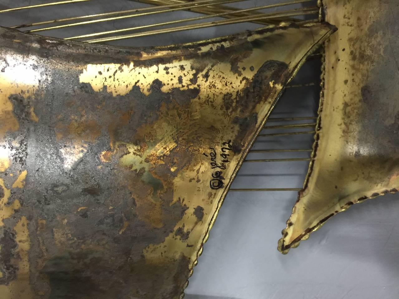 Curtis Jere Distress Brass Wall Sculpture 3